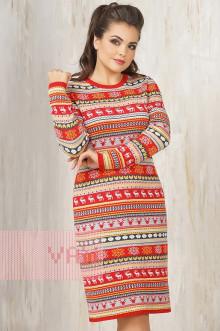 Платье женское 2256 Фемина (Кармин/золотой улей/темный джинс/светло-серый меланж/белый)